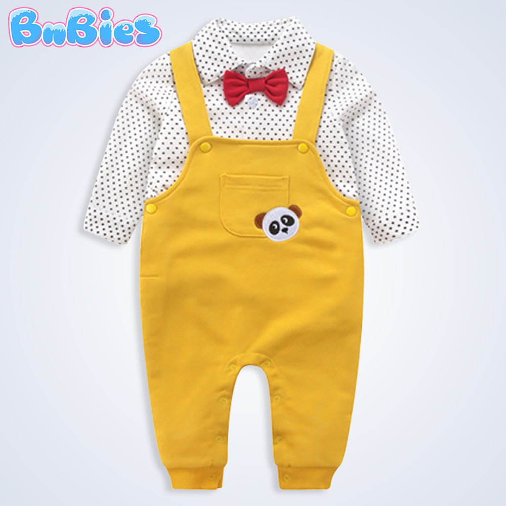 Baby Boy Cute Yellow Panda Romper
