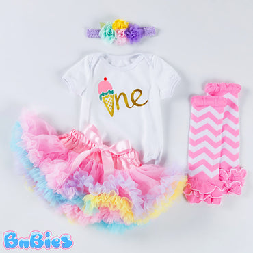 Baby Girl Colorful Birthday Romper Set (4pcs)