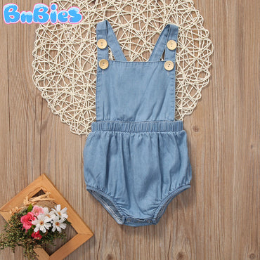 Baby Girl Stylish Denim Sunsuit
