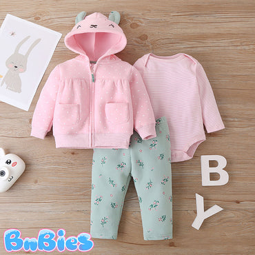 Pink Bunny Long Sleeve Hooded Jacket With Romper and Pant
