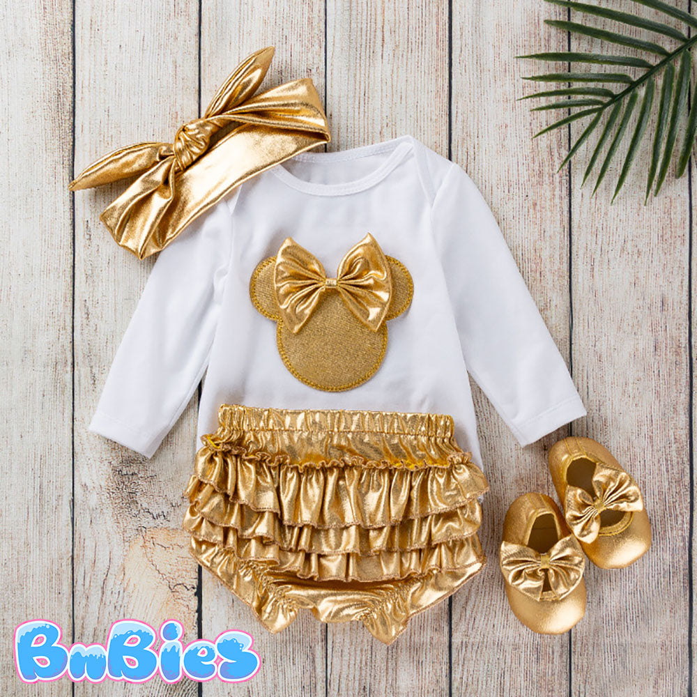 Minnie Mouse Golden Baby Girl Romper Set (4pcs)