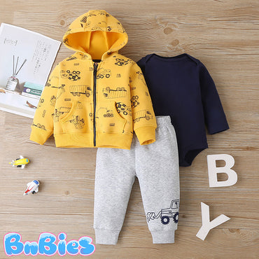 Cartoon Construction Long Sleeve Hooded Jacket With Romper and Pant