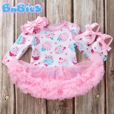 Baby Girl Cupcake Long Sleeve Dress Romper Set 3pcs