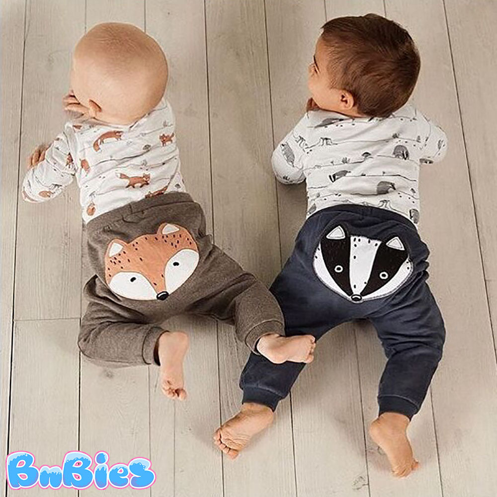 Raccoon & Fox Cartoon 2 Pieces Baby Romper