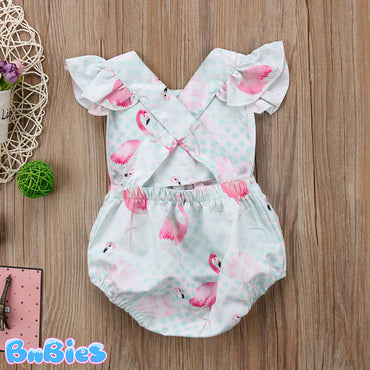 Baby Girl Flamingo Backless Romper
