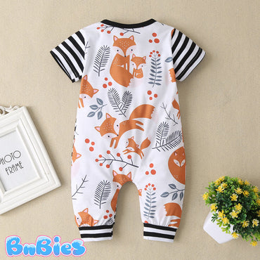 Adorable Fox Cotton Striped Romper Bodysuit