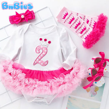 Baby Girl Birthday Party Romper Dress Set (4pcs)