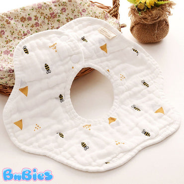 (3pcs) 8 Layers Pure Cotton Waterproof 360 Round Bib
