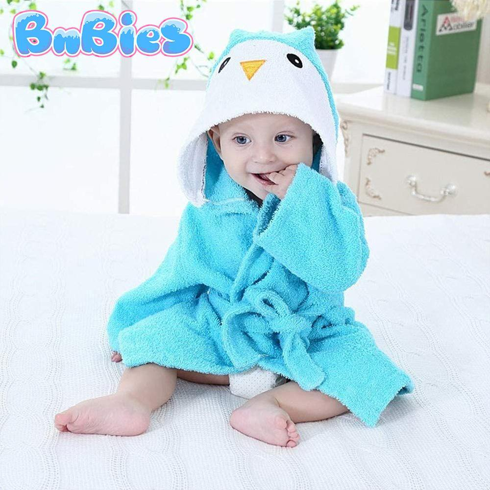 Blue Penguin Hooded Cotton Bathrobe - Bnbies