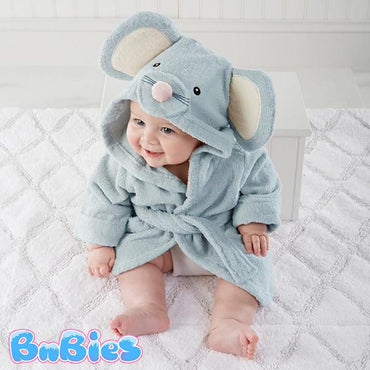 Light Blue Mouse Hooded Cotton Bathrobe - Bnbies