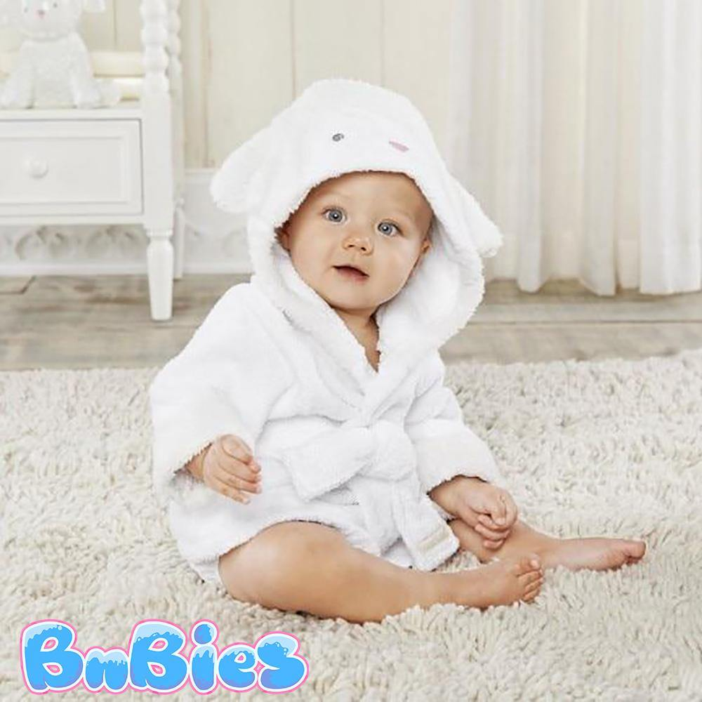 White Sheep Hooded Cotton Bathrobe - Bnbies