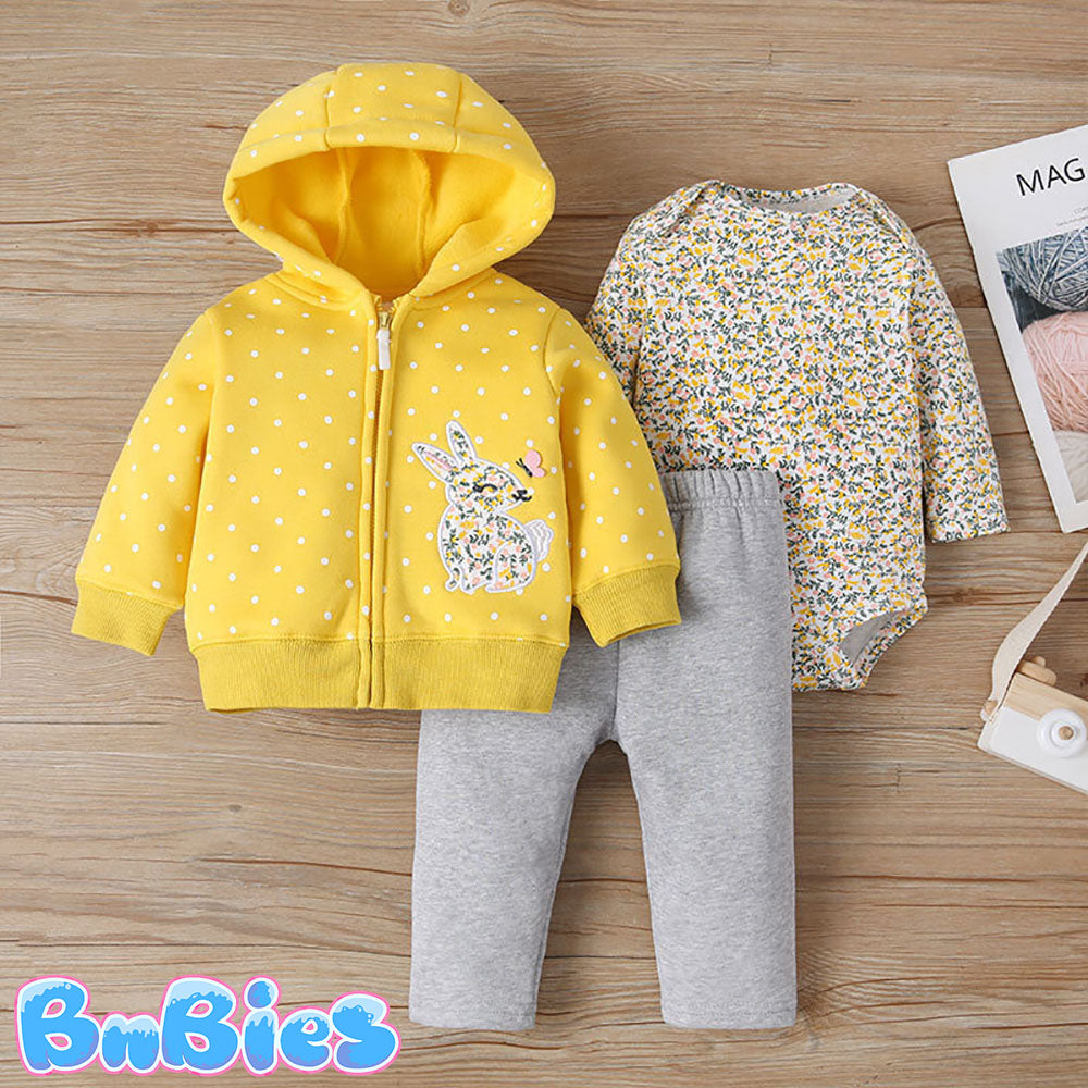 Yellow Bunny Long Sleeve Hooded Jacket With Romper and Pant
