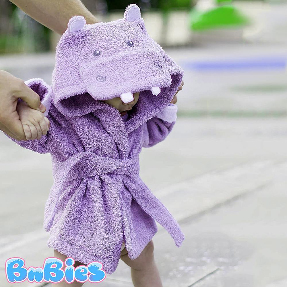 Purple Hippo Hooded Cotton Bathrobe - Bnbies