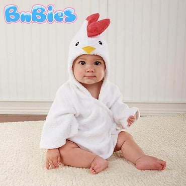 White Chicken Hooded Cotton Bathrobe - Bnbies