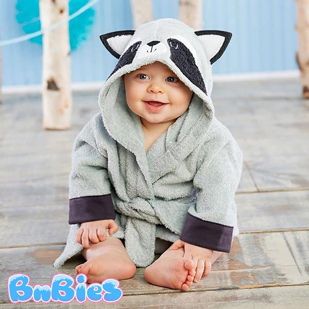 Racoon Hooded Cotton Bathrobe - Bnbies