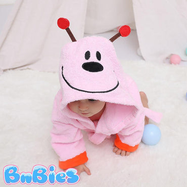 Pink Ladybug Hooded Cotton Bathrobe - Bnbies