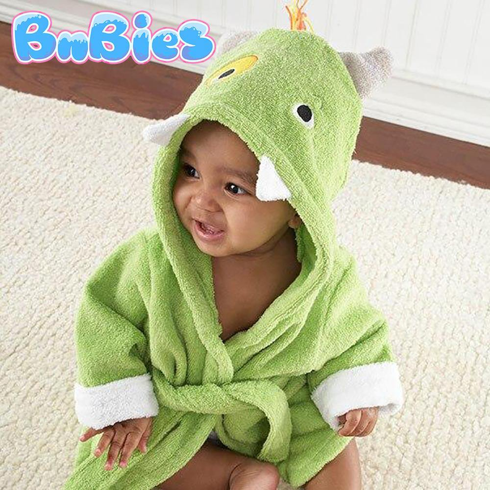 Green Monster Hooded Cotton Bathrobe - Bnbies