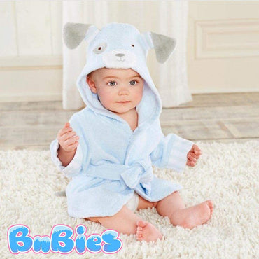 Blue Puppy Hooded Cotton Bathrobe - Bnbies