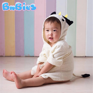 Beige Cow Hooded Cotton Bathrobe - Bnbies