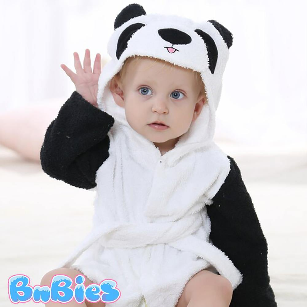 Panda Hooded Cotton Bathrobe - Bnbies