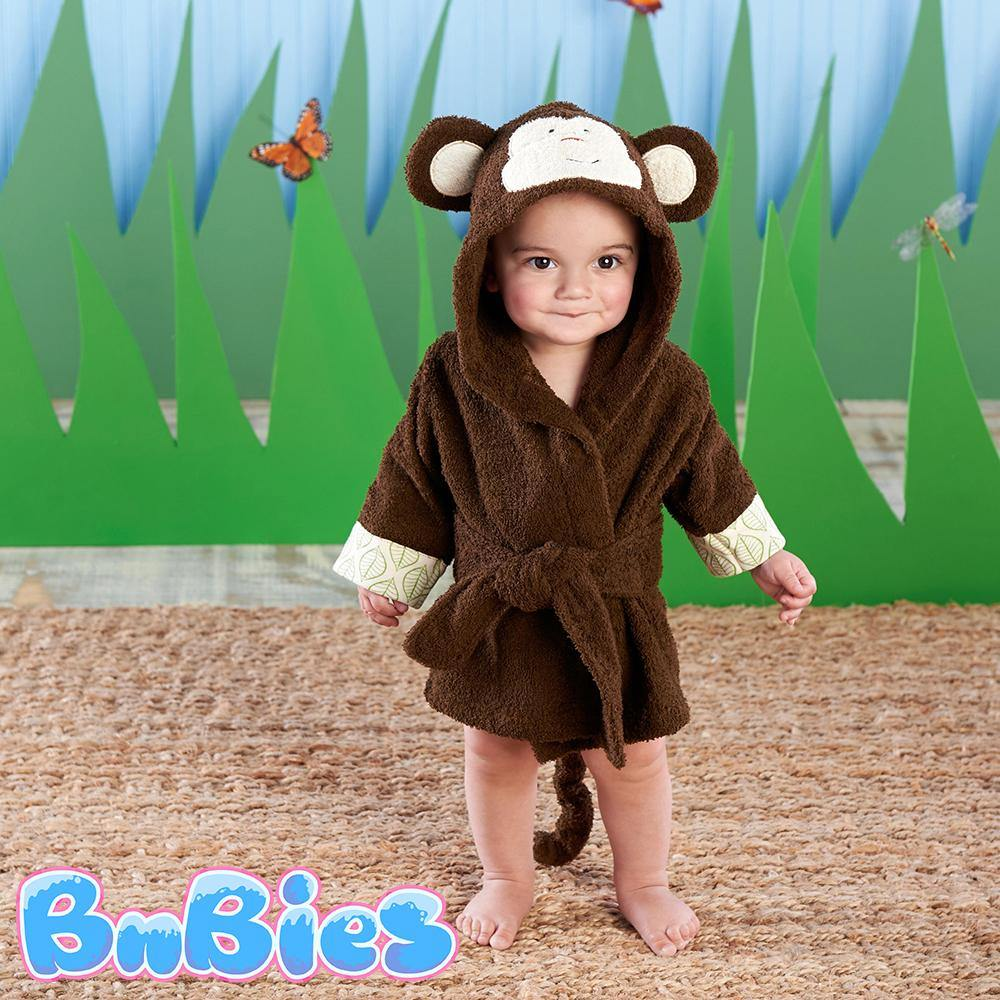 Monkey Hooded Cotton Bathrobe - Bnbies