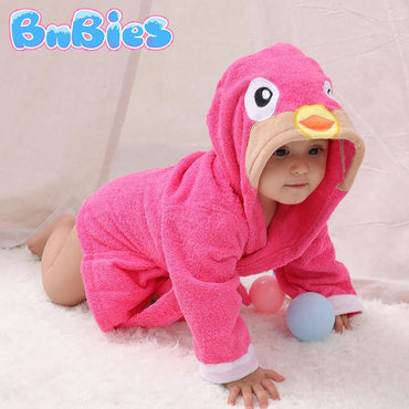 Pink Flamingo Hooded Cotton Bathrobe - Bnbies