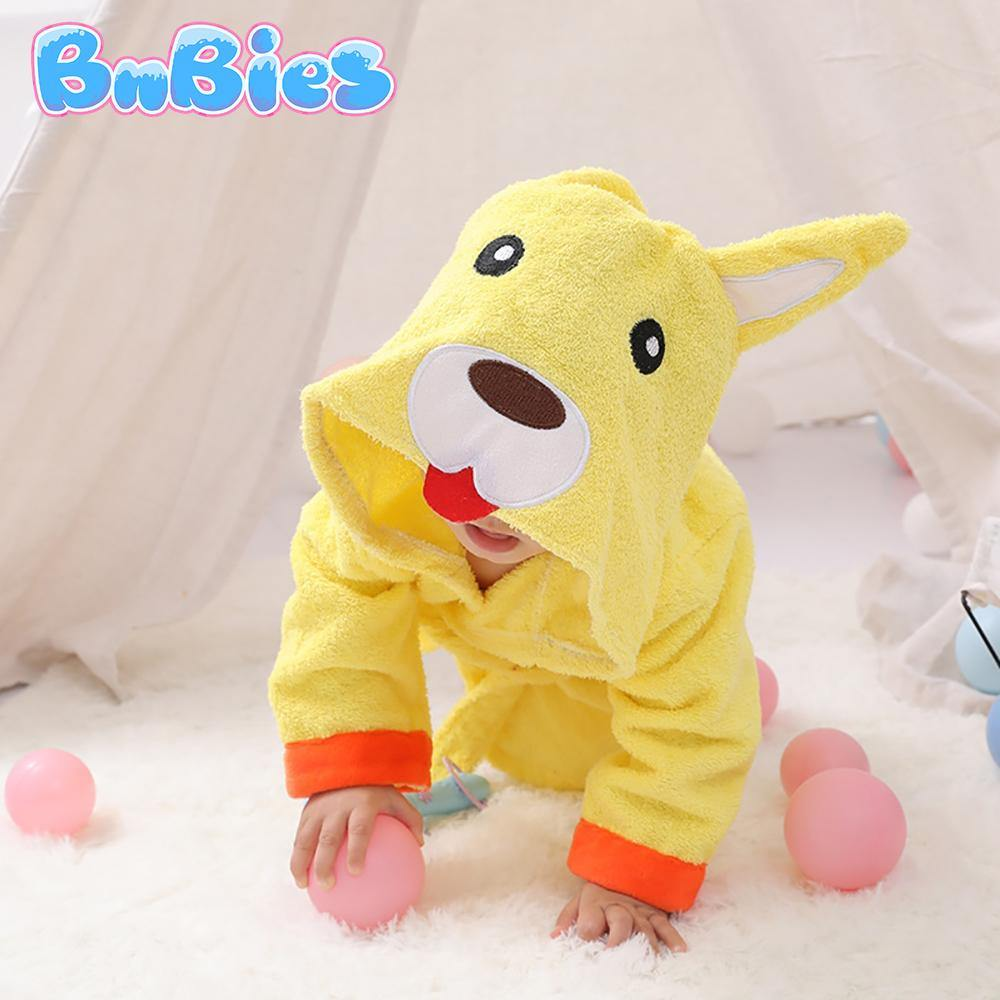 Yellow Puppy Hooded Cotton Bathrobe - Bnbies
