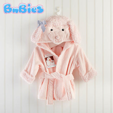 Pink Poodle Hooded Cotton Bathrobe - Bnbies