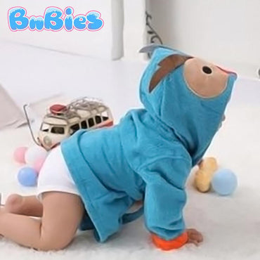 Blue Owl Hooded Cotton Bathrobe - Bnbies