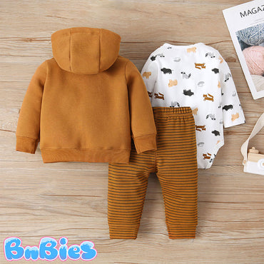 Brown Bear Long Sleeve Hooded Jacket With Romper and Pant