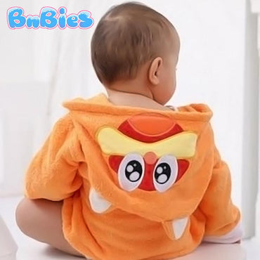 Orange Cat Hooded Cotton Bathrobe - Bnbies