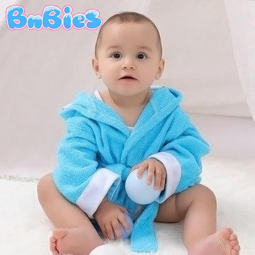 Cartoon Blue Dog Hooded Cotton Bathrobe - Bnbies