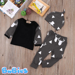 Stylish Deer Cotton Baby Outfit 3 Pieces - Bnbies