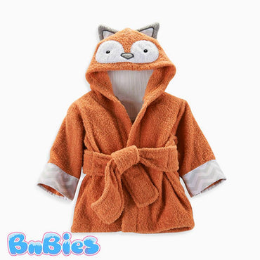 Orange Fox Hooded Cotton Bathrobe - Bnbies