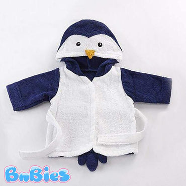 White-Navy Penguin Hooded Cotton Bathrobe - Bnbies