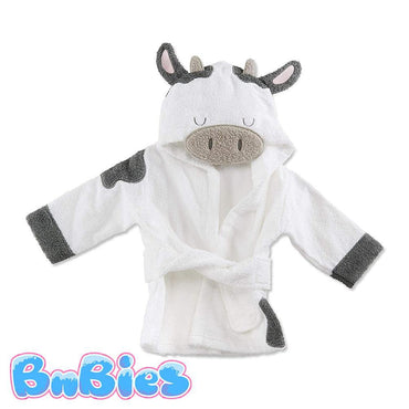 White Cow Hooded Cotton Bathrobe - Bnbies