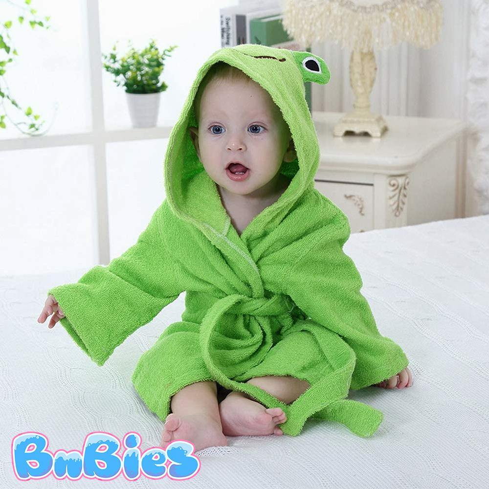 Frog Hooded Cotton Bathrobe - Bnbies