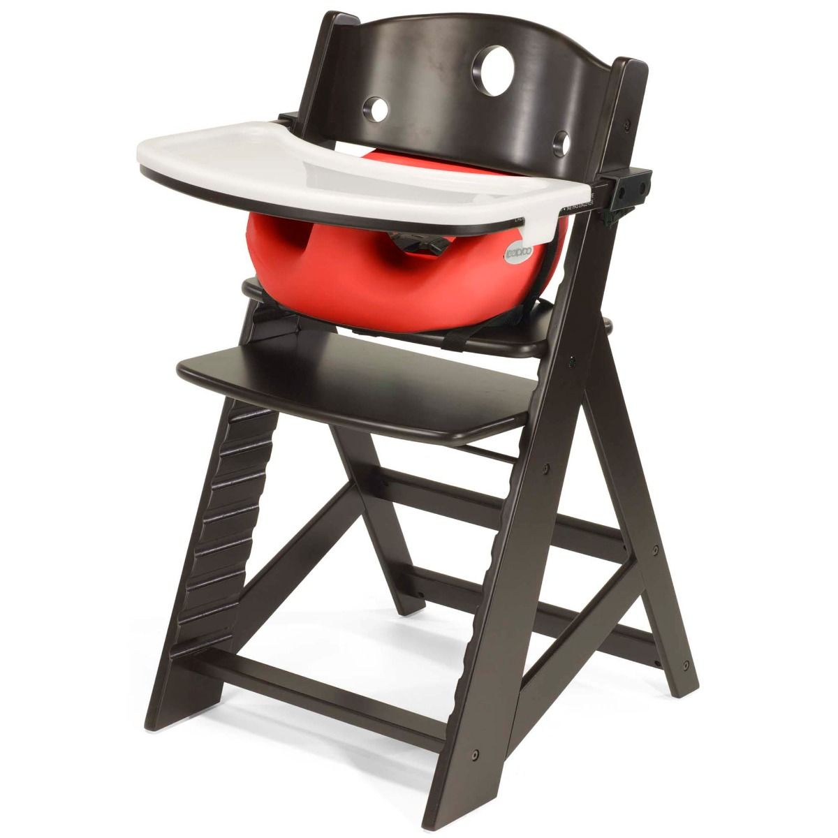 Keekaroo High Chair in Espresso with Infant Insert in Cherry Color