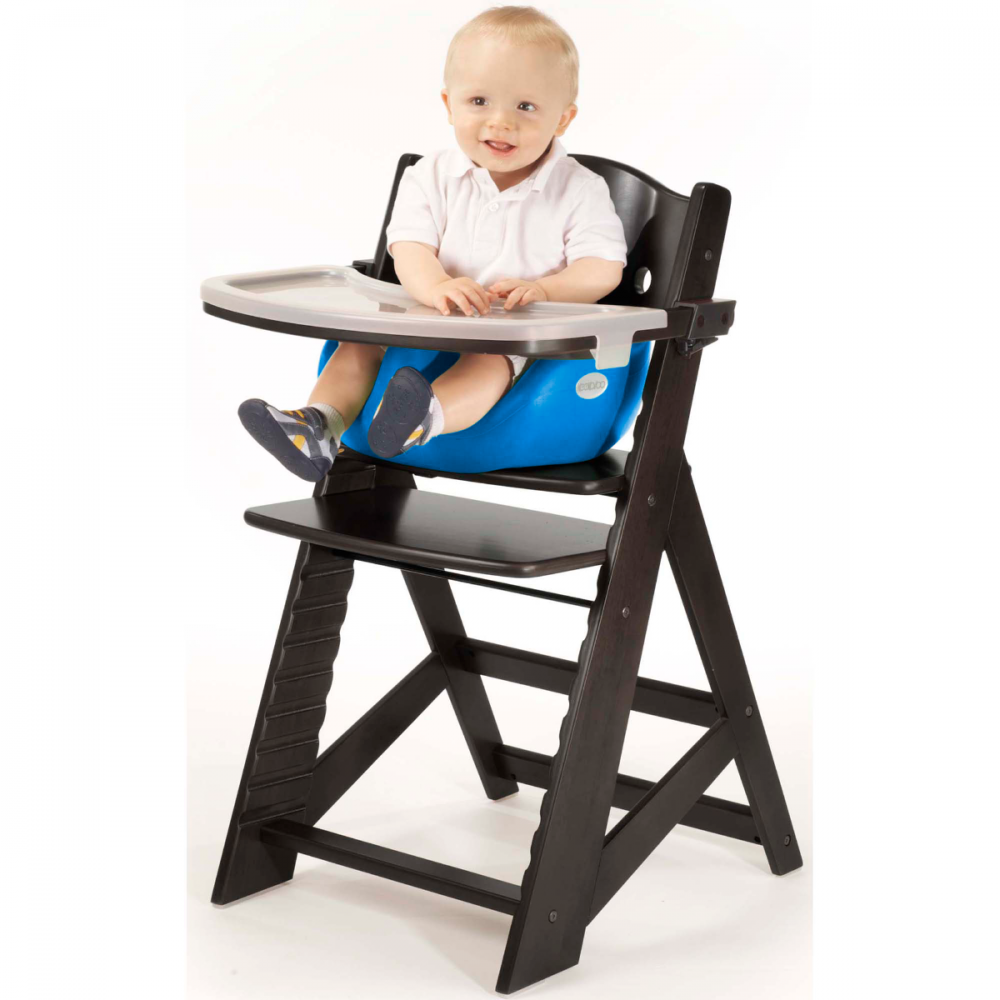 Keekaroo High Chair in Espresso with Infant Insert in Aqua Color