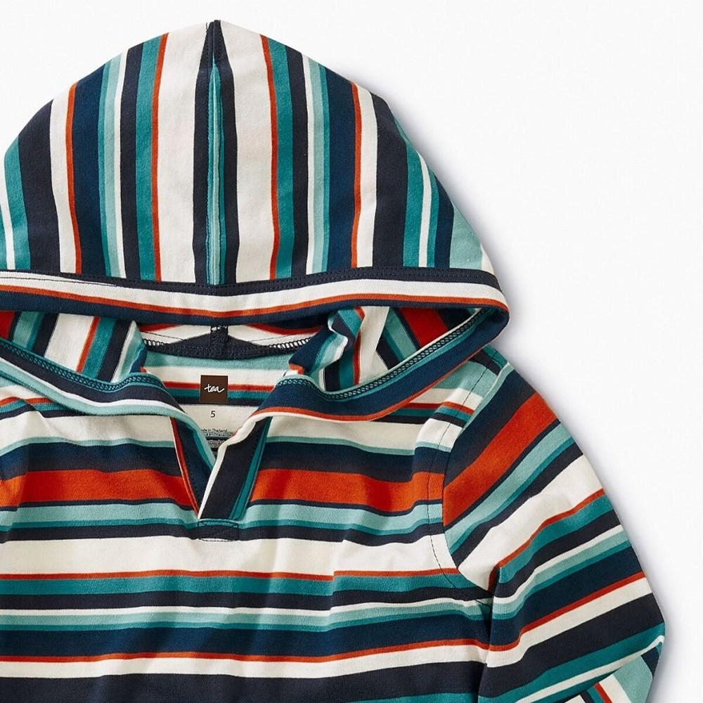 Tea Collection Striped Happy Hoodie in Poseidon