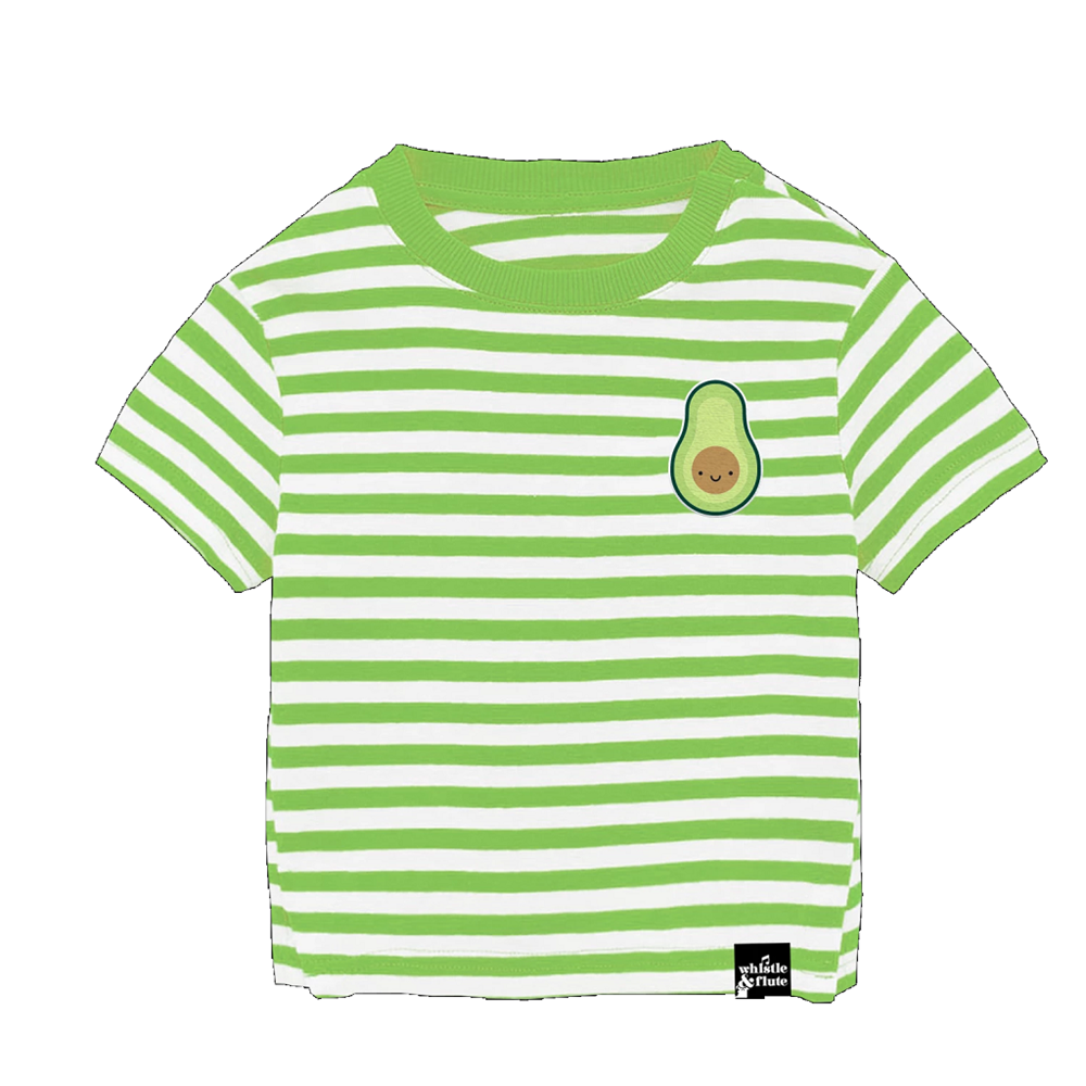 Whistle and Flute Kawaii Avocado Striped T-Shirt