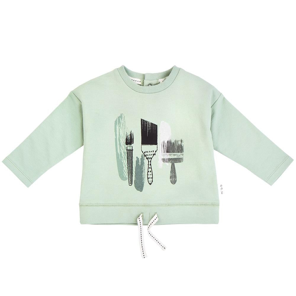 "Miles Baby ""ARTSY FARTSY"" LIGHT GREEN PAINT BRUSHES LONG SLEEVE T-SHIRT"