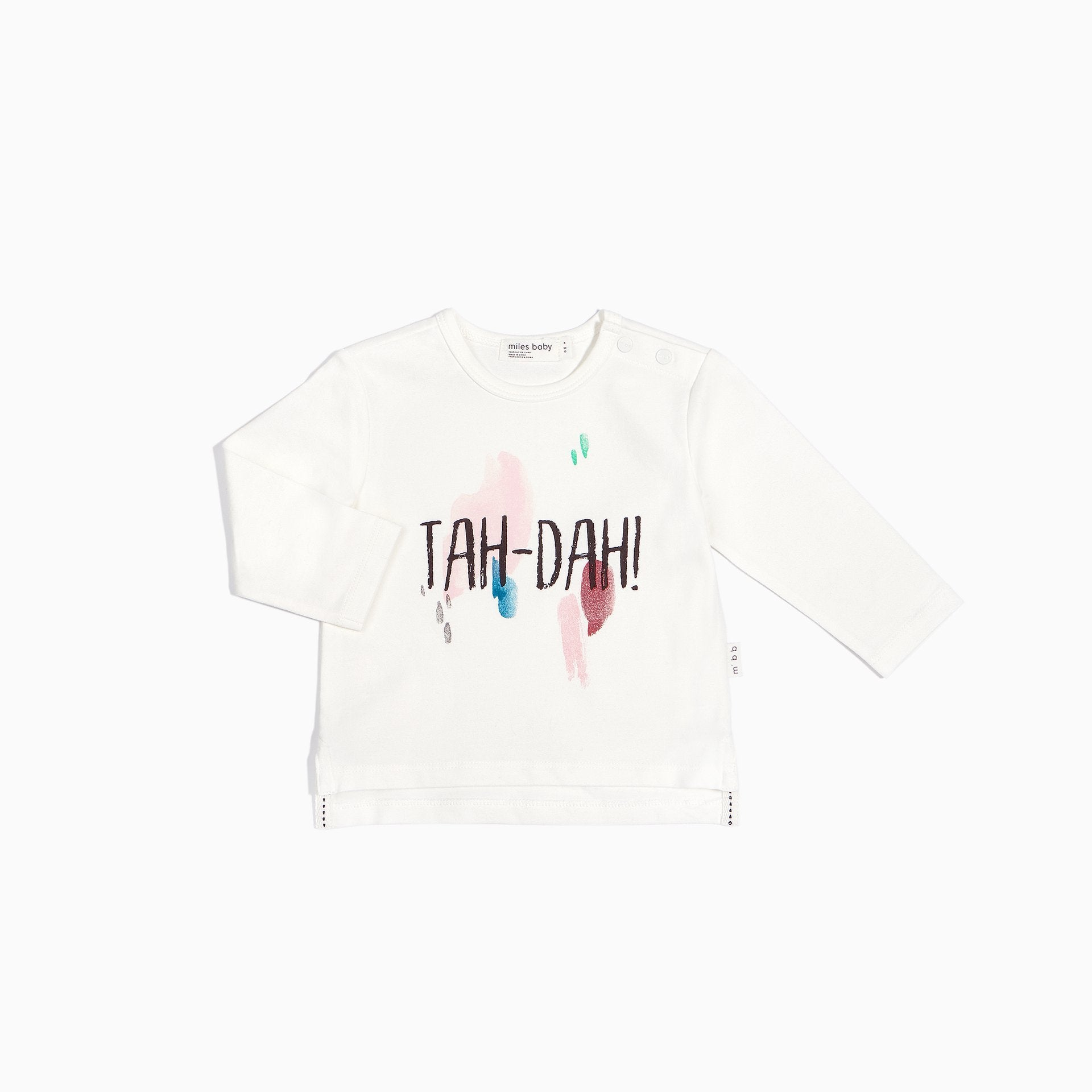 "Miles Baby OFF-WHITE AND PINK LONG SLEEVE ""TAH-DAH"" TOP"
