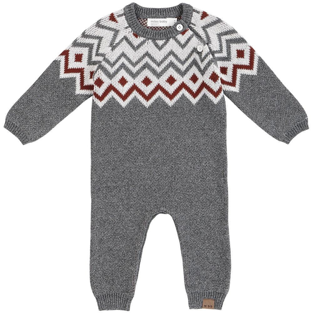 Miles Baby Playsuit Knit in Medium Heather Grey