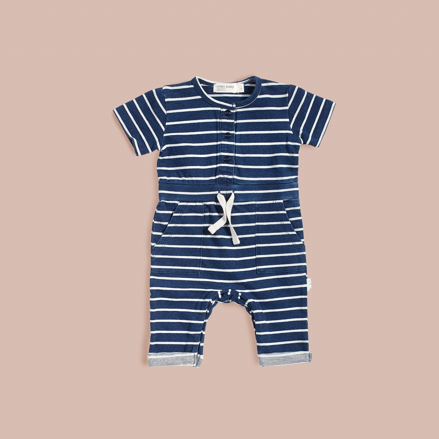 Miles Baby STRIPED INDIGO WASH PLAYSUIT in Blue Denim