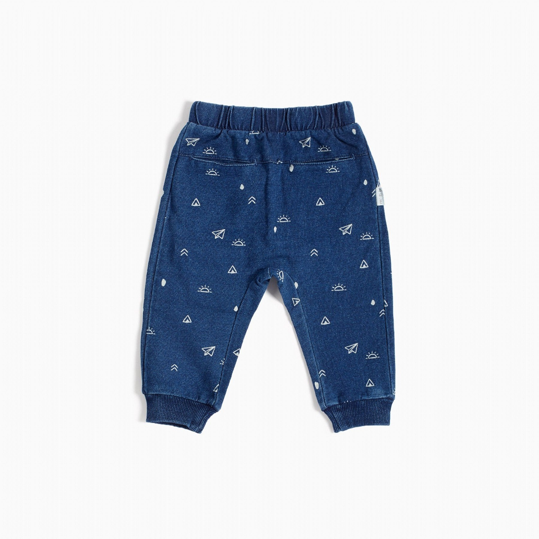 Miles Baby PAPER PLANE PRINT JOGGER in Blue Denim