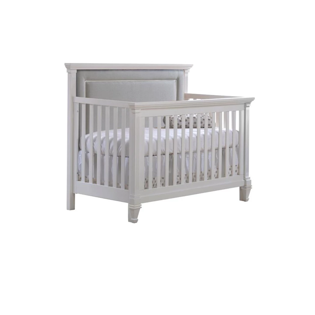 "Natart Juvenile Belmont ""5-in-1"" Convertible Crib with Channel Tufted Upholstered Headboard Panel in grey"