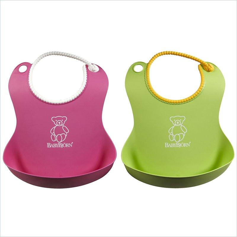 Baby Bjorn Pink and Green 2-pack Baby Bib
