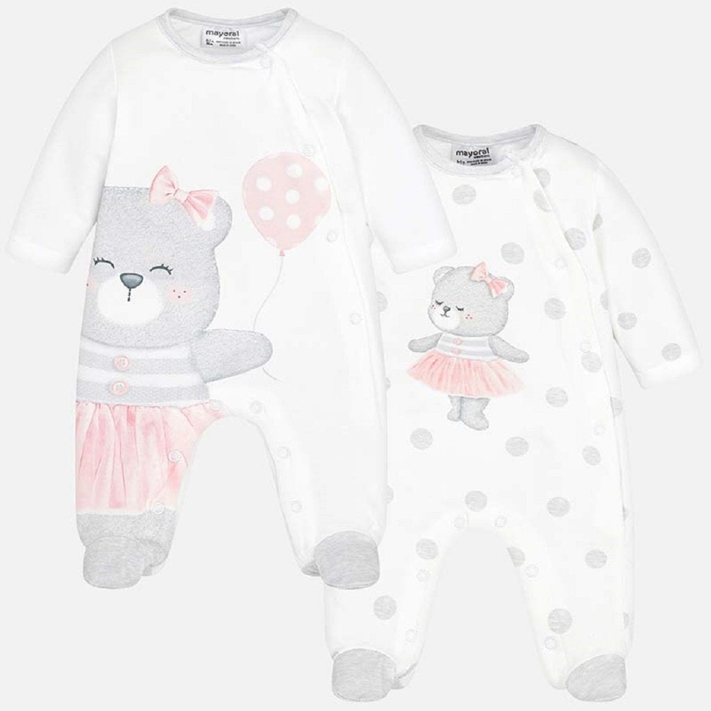 Mayoral Set of long pyjamas for newborn girl in Pearl