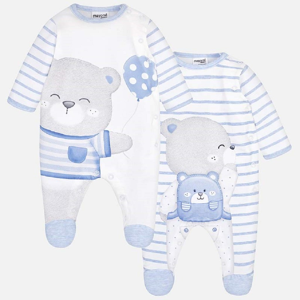 Mayoral Set of long pyjamas with bears design for newborn boy blue